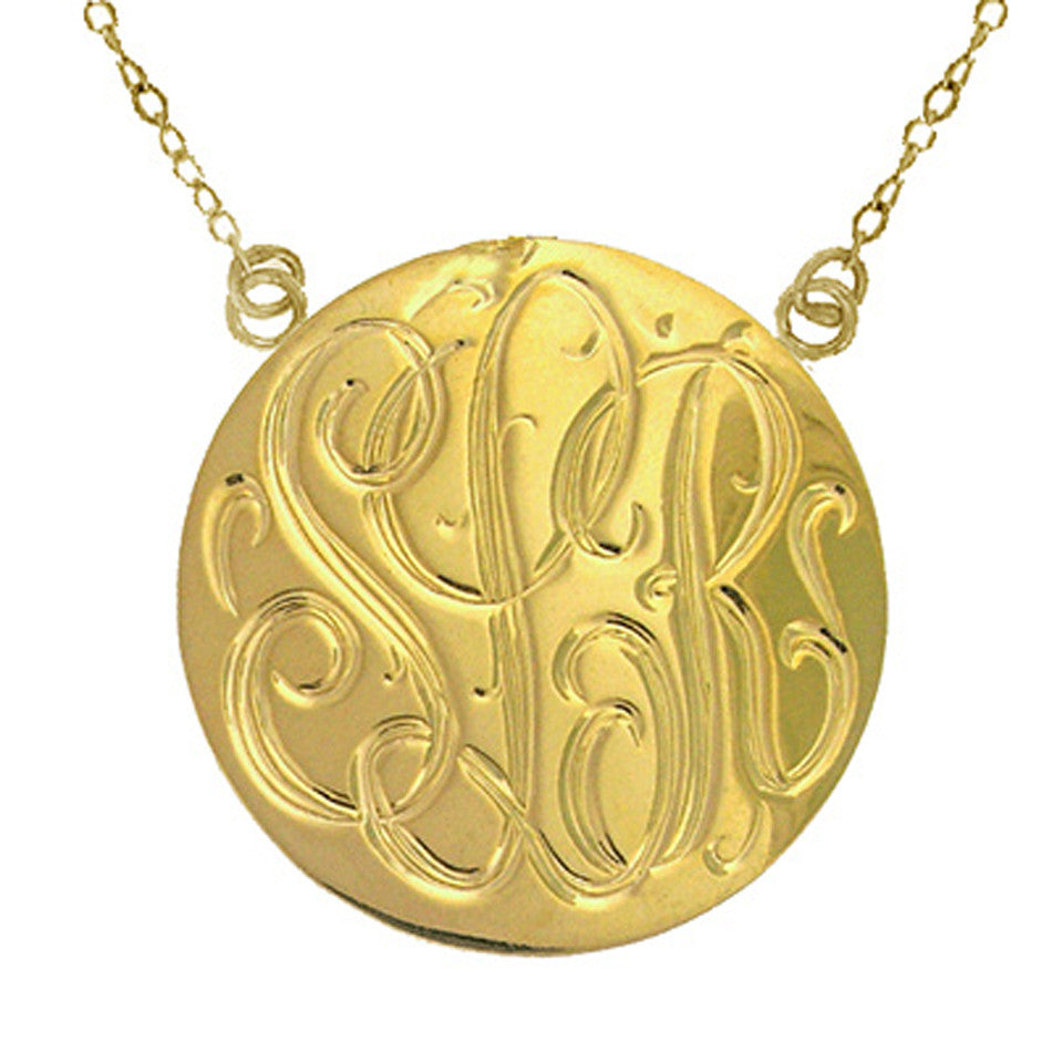 14K Solid Gold Hand Engraved Disc Necklace