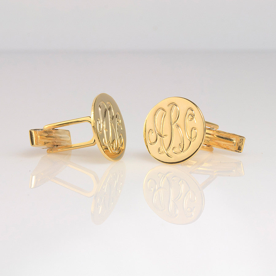 hand engraved monogram cuff links