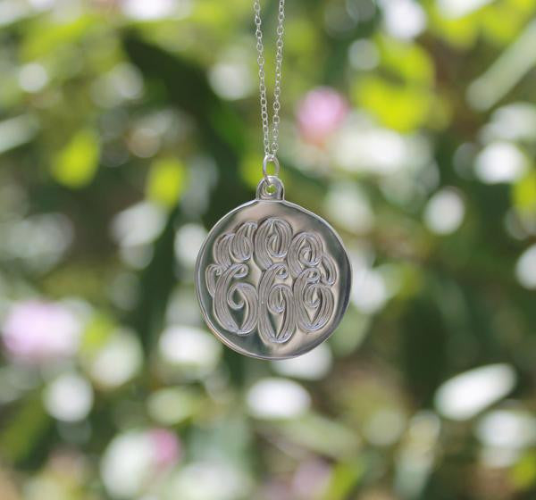 silver hand engraved disc necklace