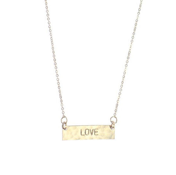 Hand Stamped Personalized Identity Horizontal Mini Bar Necklace