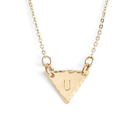 Hand Stamped Personalized Identity Mini Triangle Necklace