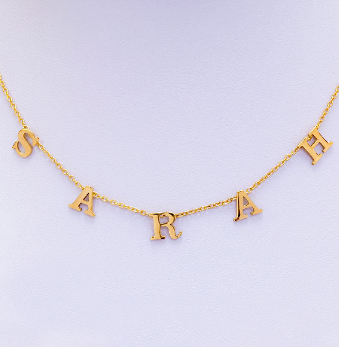 Hanging Block Initial Name Necklace