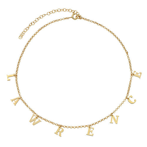 Hanging Initials Name Choker Necklace