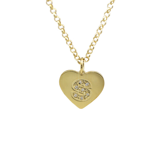 Heart CZ Initial Necklace