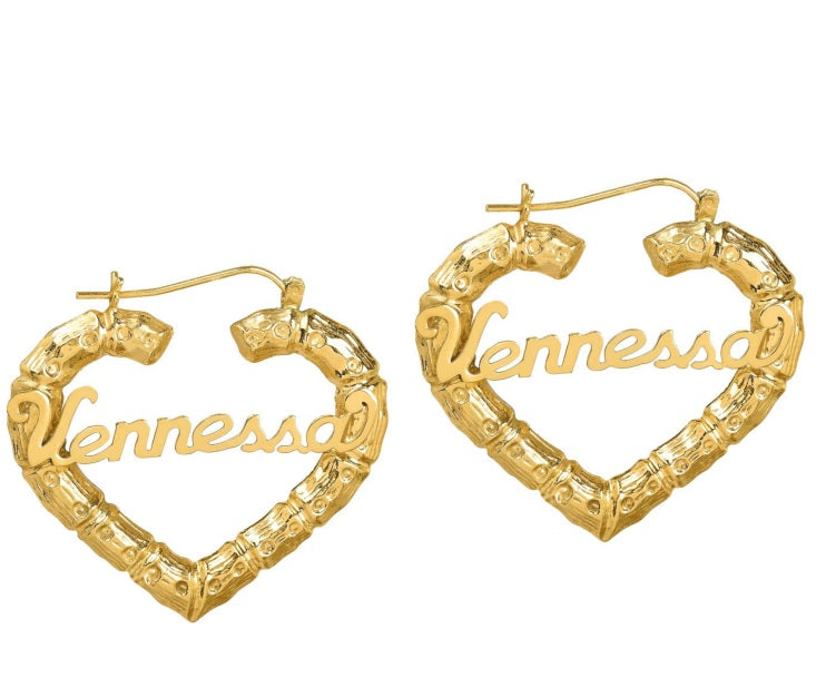 Heart Name Bamboo Hoop Earrings Be Monogrammed