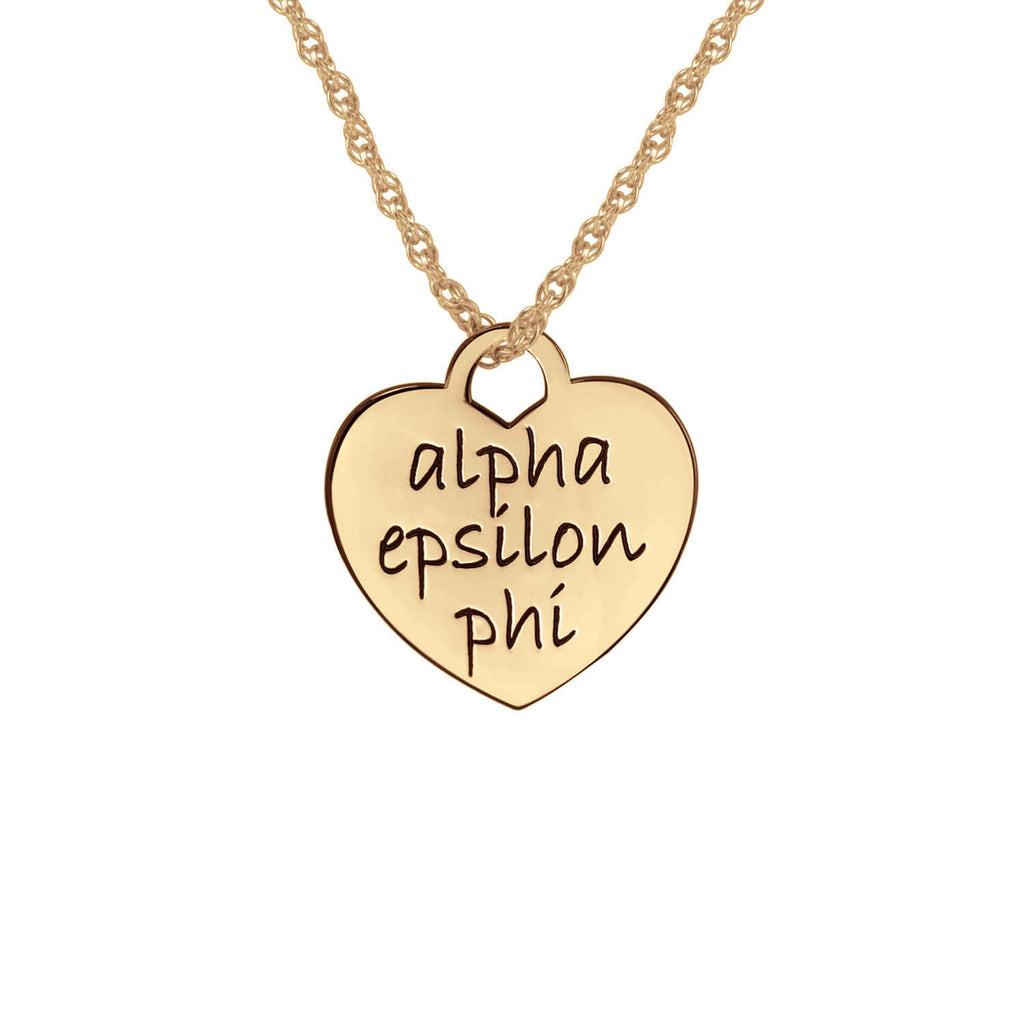 Greek Sorority Heart Necklace - Rose Gold