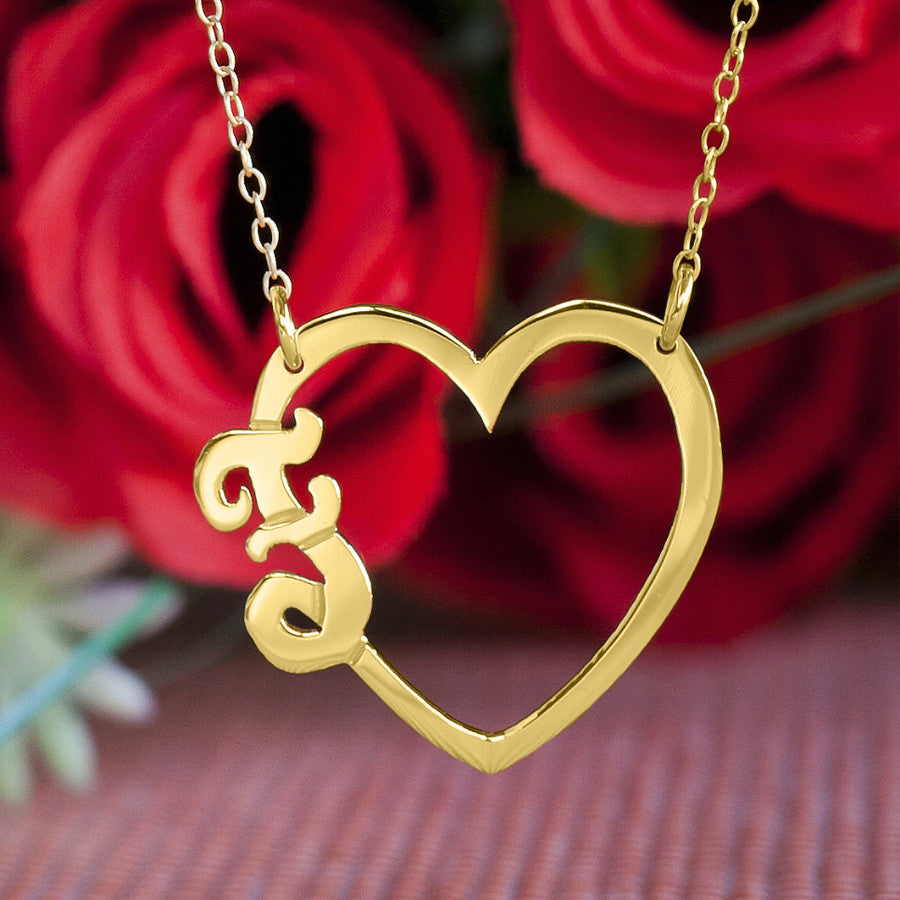 Heart Initial Necklace gold