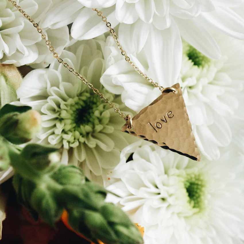 Hand Stamped Triangle Necklace 2