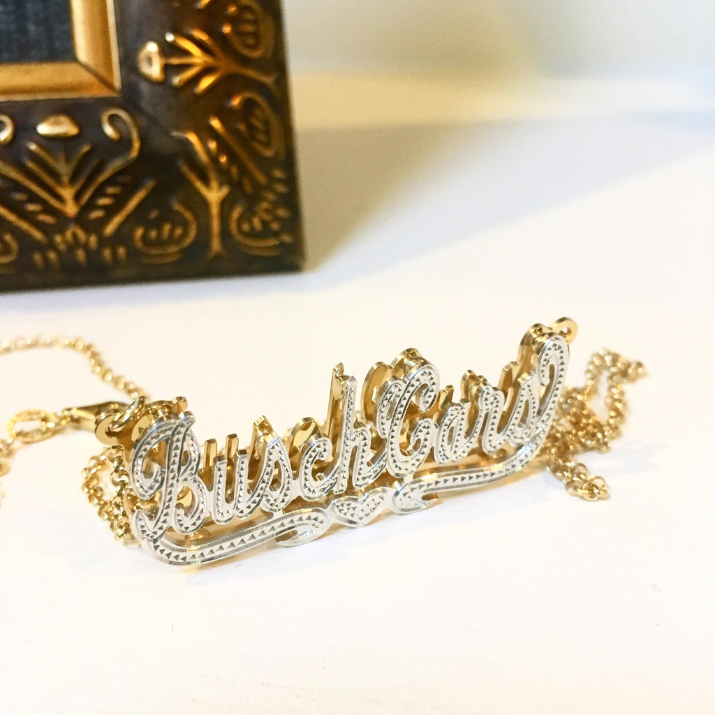 beaded double plated name necklace