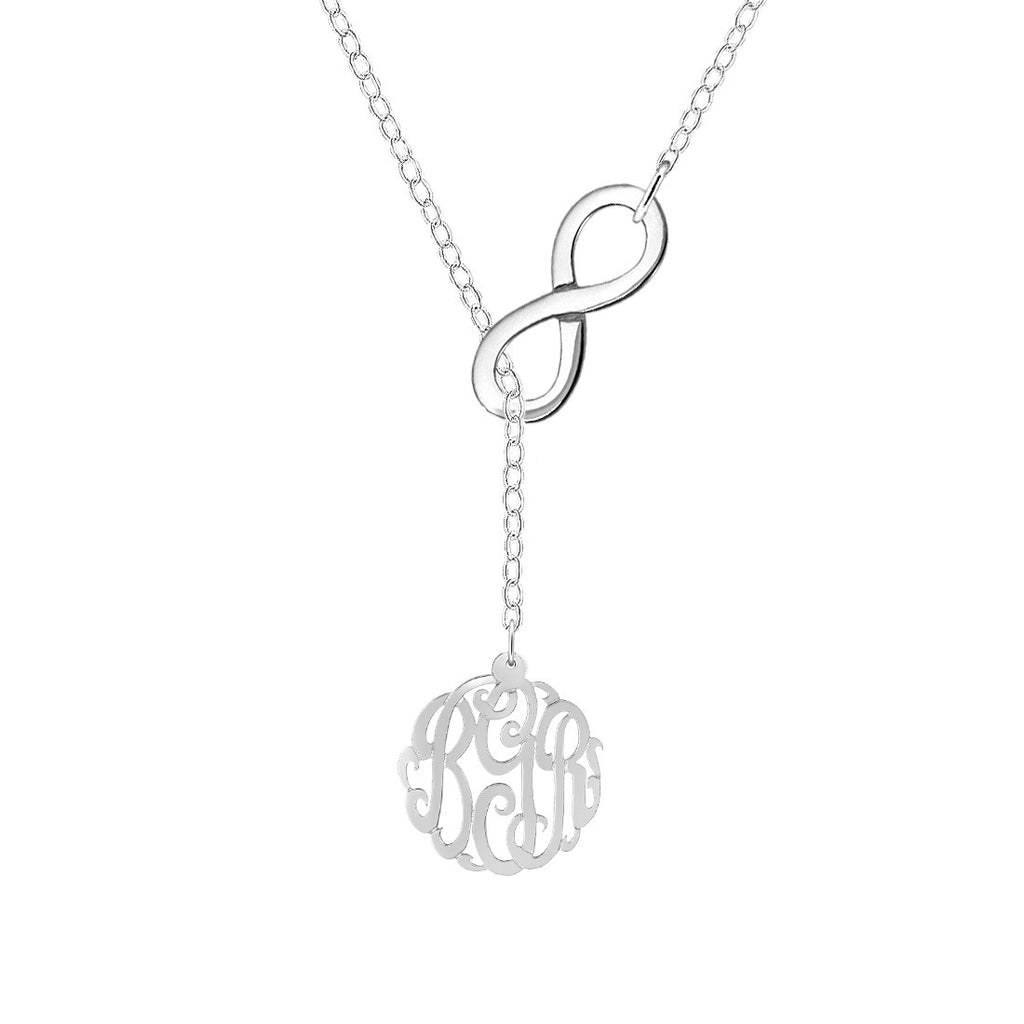 Silver Monogram Infinity Lariat Necklace 5/8 inch
