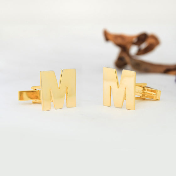 personalized cufflinks - block initial