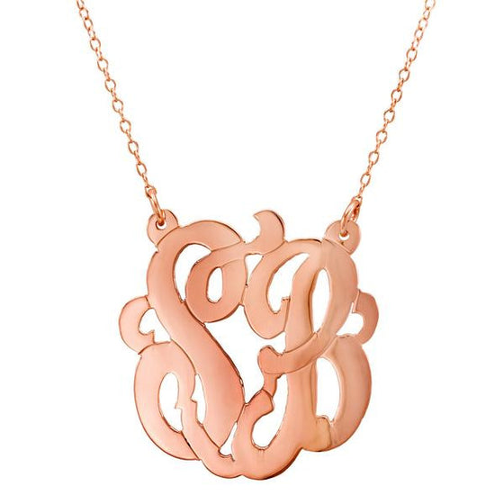 Rose Gold 2 Initial Monogram Necklace