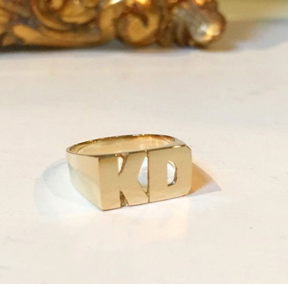 Personalized Gold Stacked Initial Ring- straight line