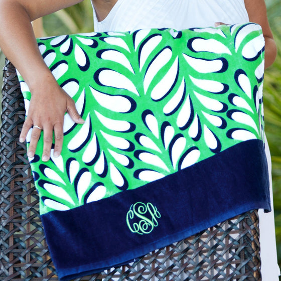 Monogram Beach Towel - Island Palm