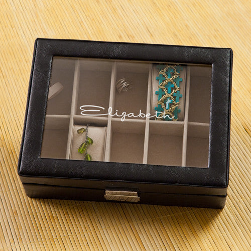 Monogrammed Black Leather Jewelry Box