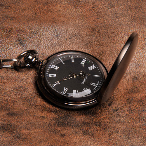 Monogrammed Black Face Silver Plated Pocket Watch Alternate 1