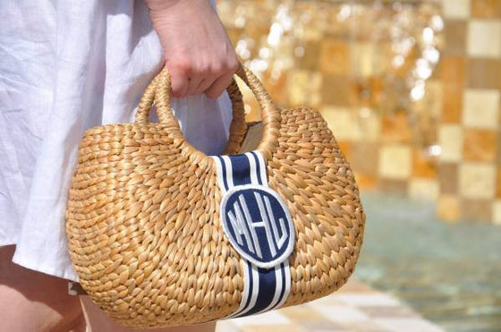 Monogrammed Kala Straw Basket Bag
