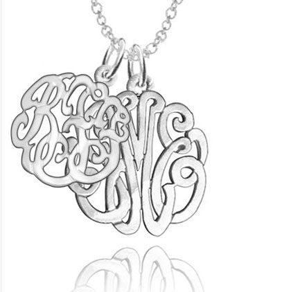 Sterling Silver Double Monogram Necklace