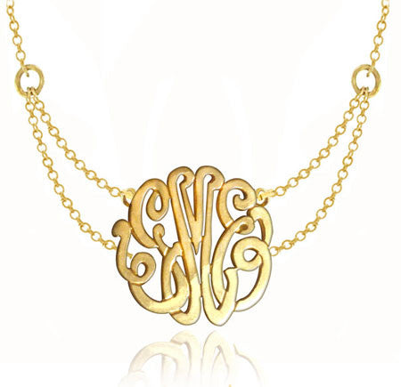 24K Gold Plated Monogram Necklace On Double Chain