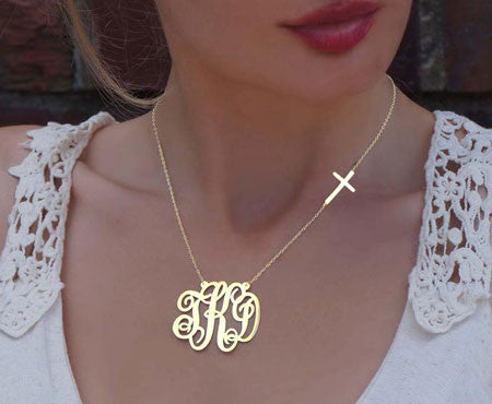 24K Gold Plated Monogram And Side Cross Necklace