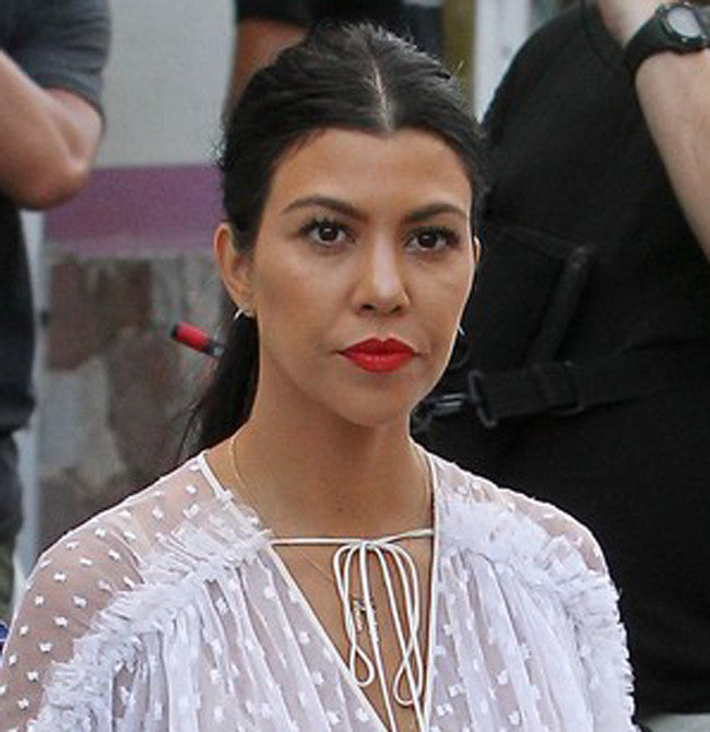 Gold Hanging Name Game Birthstone Necklace - Kourtney Kardashian 10