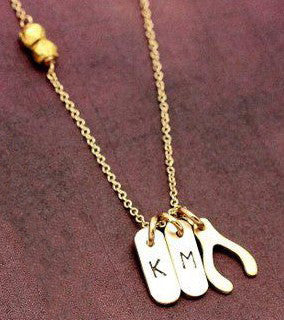 Gold Filled Identity Mini Bar Wishbone Necklace Kourtney Kardashian