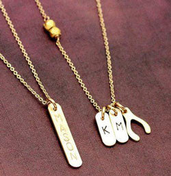 Gold Filled Identity Mini Bar Wishbone Necklace Kourtney Kardashian Alternate 2