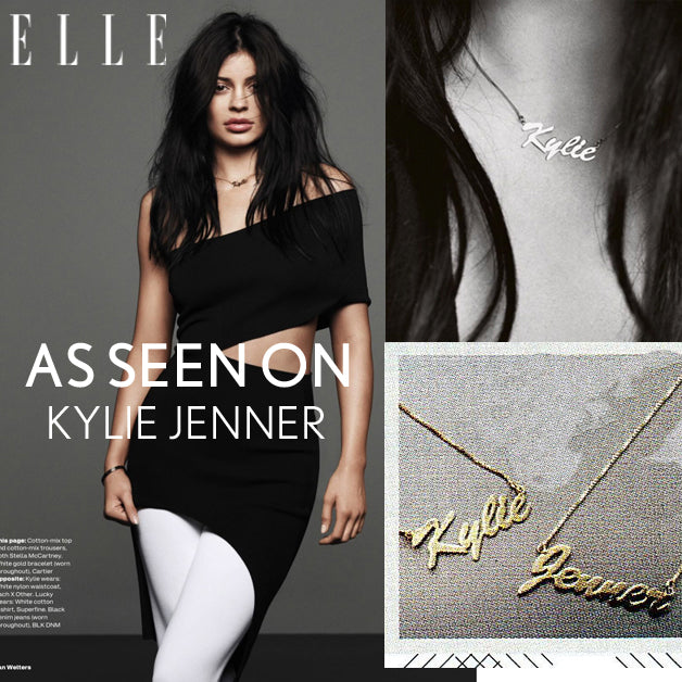 14K Gold Vermeil Name Plate Necklace - Kylie Jenner