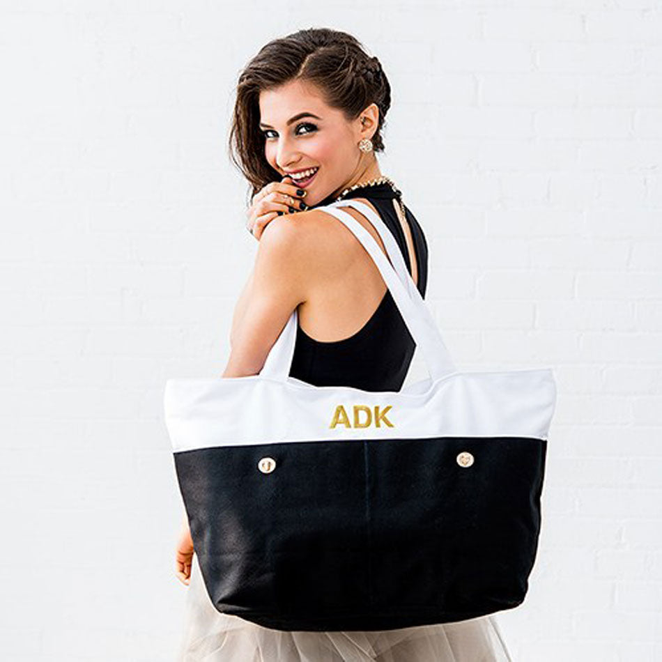 Large Monogram Canvas Tote Bag - Black and White 2