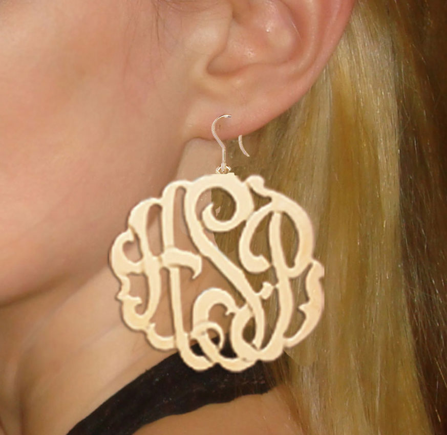 Large Monogram Dangle Earrings 2