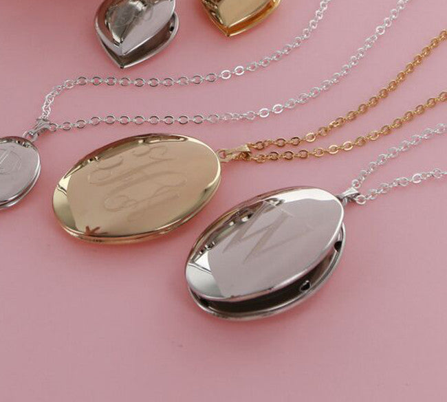 Personalized Silver Plated Large Oval Locket Necklace