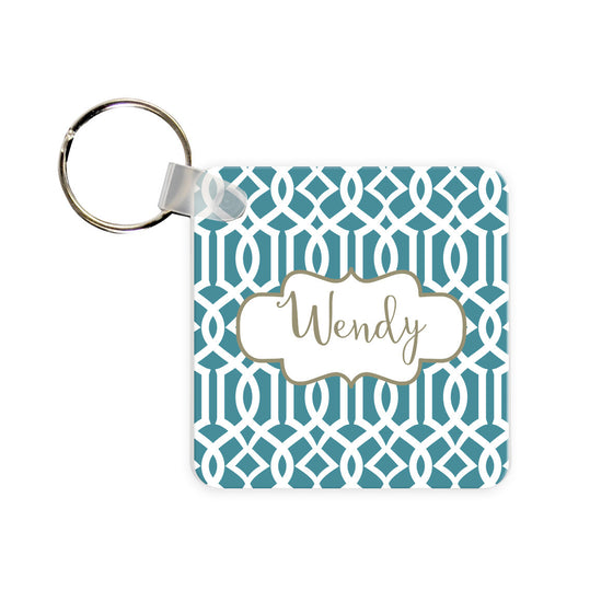 Personalized Lattice Monogram Key Chain