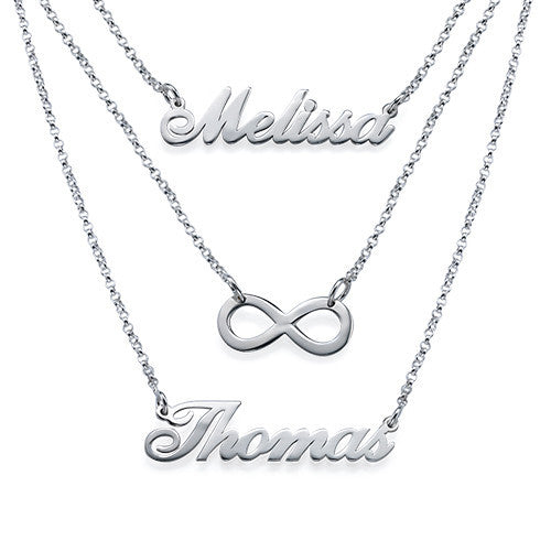 Silver Layered Two Name Infinity Necklace
