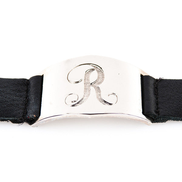 silver leather initial cuff bracelet