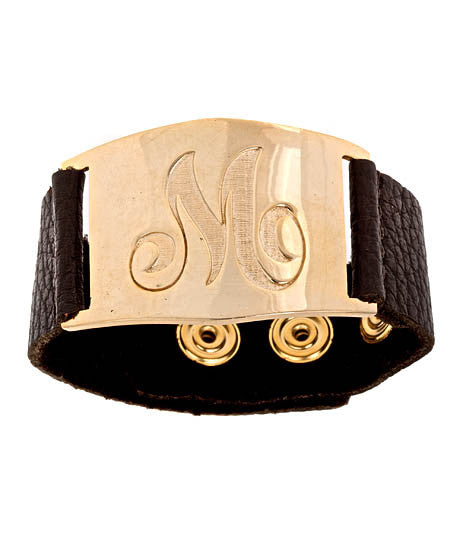 Personalized Gold And Leather Bracelet Alternate 1
