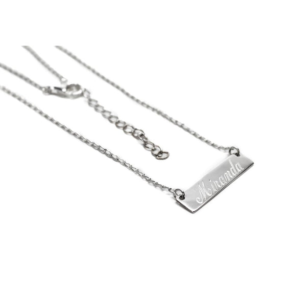 Little Sterling Silver Engraved Bar Necklace