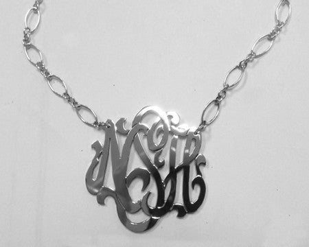 Sterling Silver Monogram Necklace Long And Short Chain Alternate 1