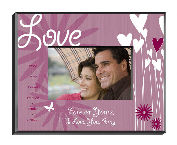 Personalized Love Hearts Flowers Picture Frame