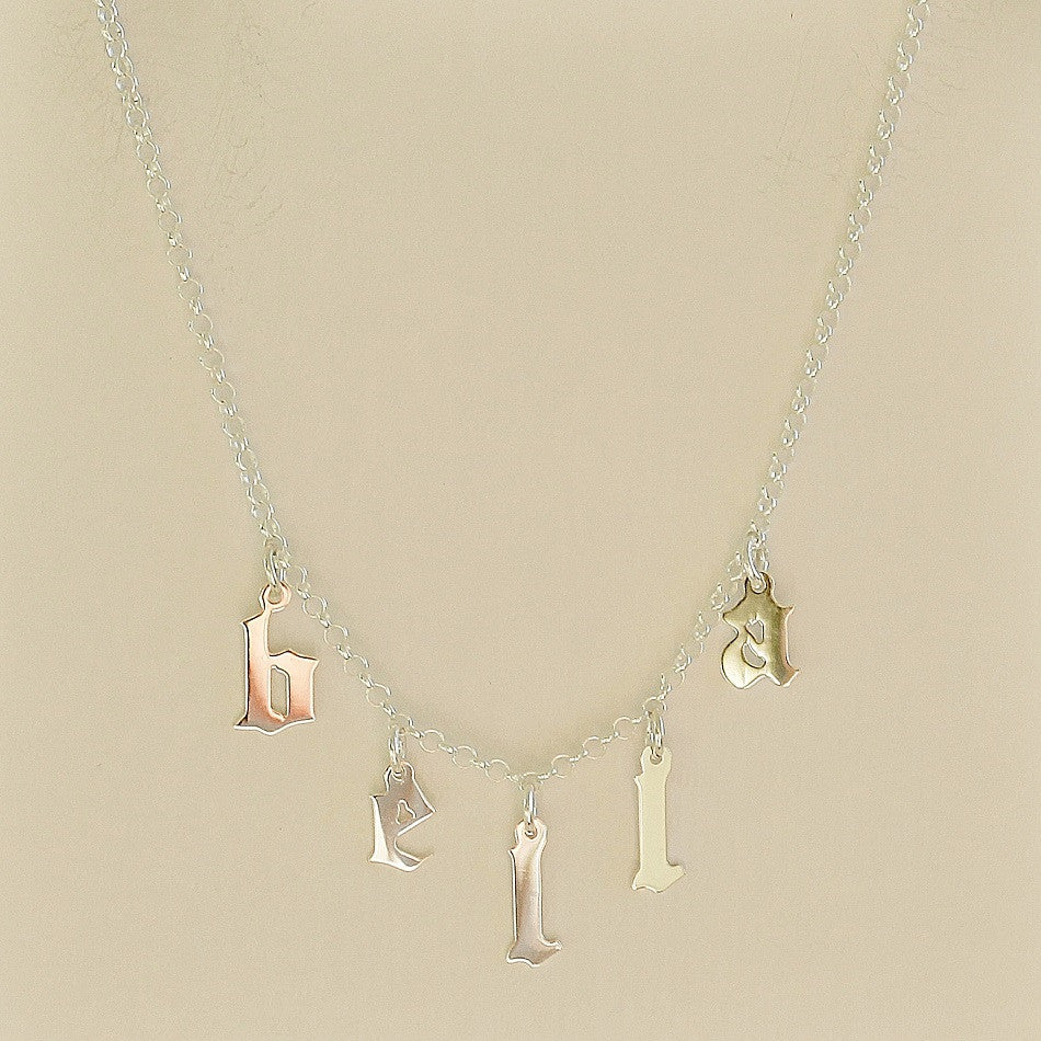 ac595f7de9a79 Hanging Gothic Name Necklace - Be Monogrammed
