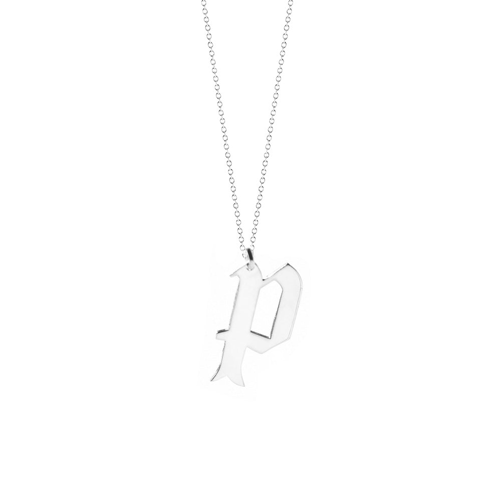 Lowercase Old English Initial Necklace 3