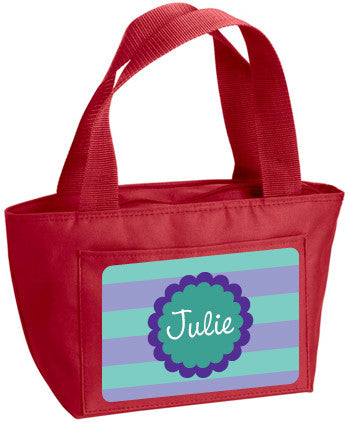 Personalized Lunch Bag Teal And Purple Lines