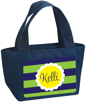 Personalized Lunch Bag Blue And Green Lines