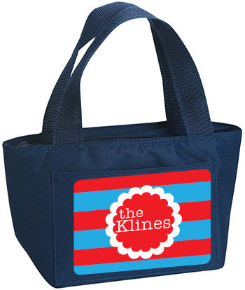Personalized Lunch Bag Red White And Blue Lines