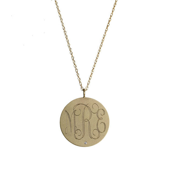 medium 14k gold engraved disc necklace