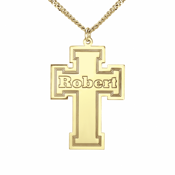 Personalized Mens Engraved Cross Necklace