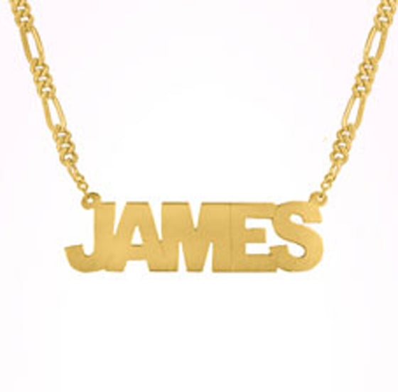 Mens Block Name Necklace on Figaro Chain