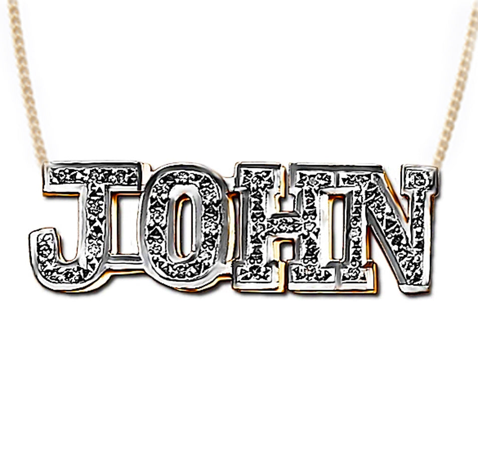 Men's Double Plated CZ Block Name Necklace