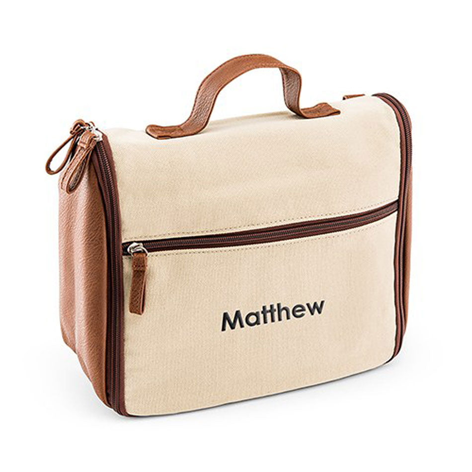 men s personalized hanging canvas toiletry bag be monogrammed