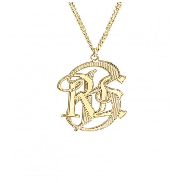 Mens Monogram Necklace - Gold or Silver