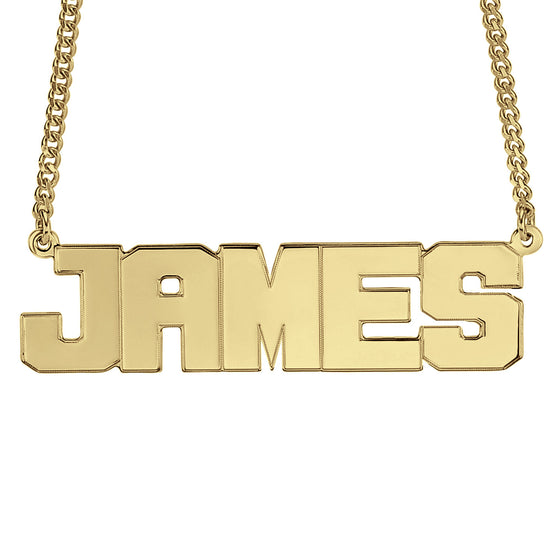 Mens Block Name Necklace